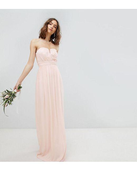 TFNC London - Pink Bandeau Maxi Bridesmaid Dress - Lyst