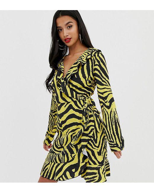 c27841f0a3 John Zack - Green Ruffle Wrap Front Midi Tea Dress In Yellow Zebra Print -  Lyst ...