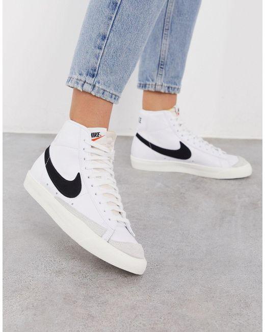 Baskets Blazer Mid'77 Vintage Femme Cuir Nike en coloris Blanc ...