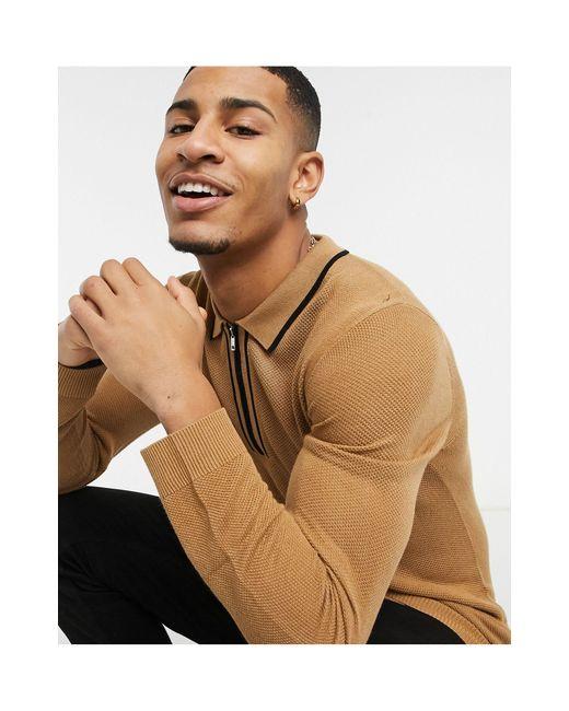 Поло Бежевого Цвета С Длинным Рукавом И Контрастным Воротником -коричневый Topman для него, цвет: Brown