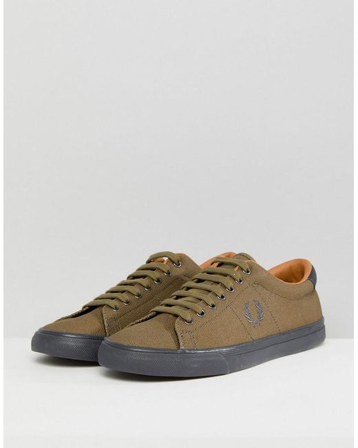 ... Fred Perry - Green Underspin Heavy Waxed Canvas Trainers In Khaki for  Men - Lyst ...