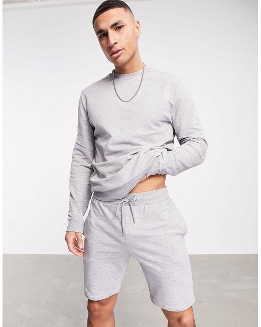 Легкий Серый Меланжевый Спортивный Костюм Со Свитшотом И Шортами Зауженного Кроя ASOS для него, цвет: Gray