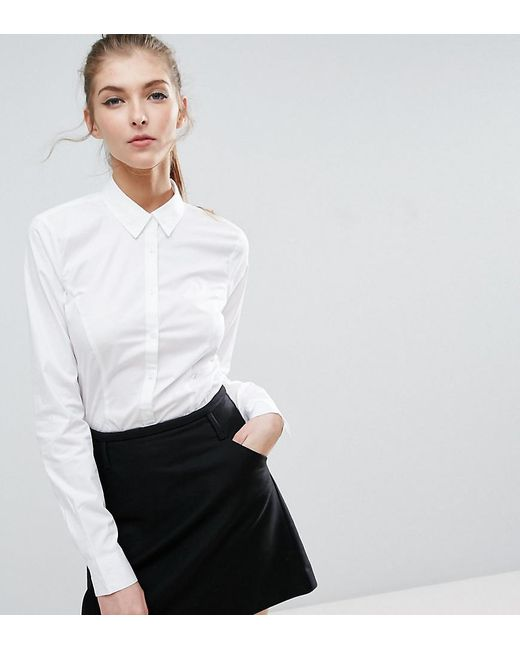 Lyst - Asos Fitted White Shirt In Stretch Cotton in White