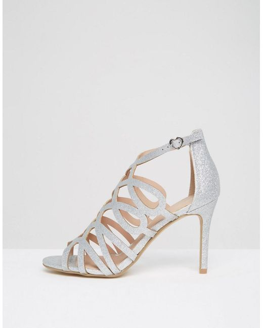 Dune By Dune Mae Silver Caged Heel Sandals in Metallic | Lyst