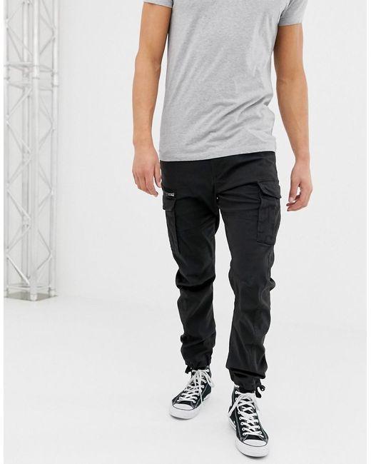 Pantalones cargo de corte slim en negro Jack & Jones de hombre de color Black