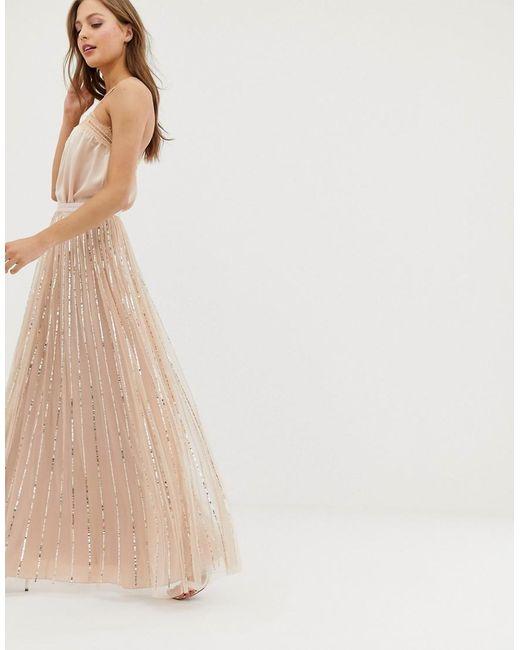 a15b5a5db Needle   Thread - Pink Vestido largo en rosa con lentejuelas con brillo de  ...