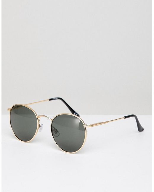 042d162516 ASOS - Metallic Round Sunglasses In Gold With Nose Bridge Detail for Men -  Lyst ...