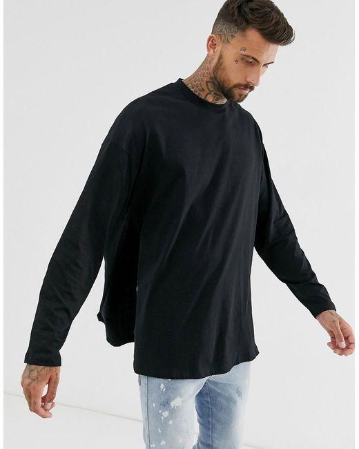 ASOS Oversized Long Sleeve T-shirt With Extreme Side Splits In Black for men