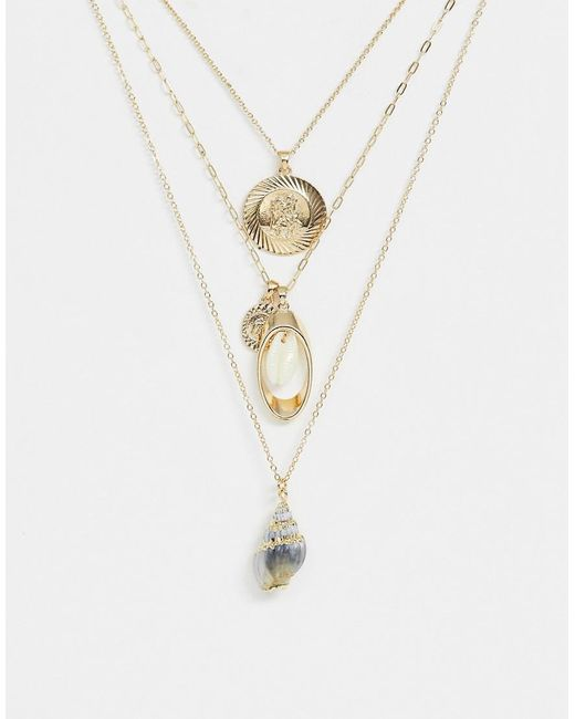 ASOS Metallic Multirow Necklace With Faux Shell And Vintage Style Charms In Gold