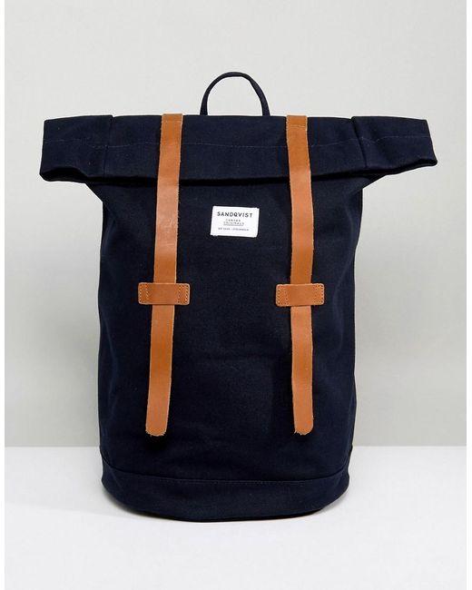 Sandqvist   Blue Stig Rolltop Backpack In Navy for Men   Lyst