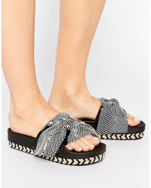 Sixtyseven | Natural Beige Bow Slide Flat Sandals | Lyst
