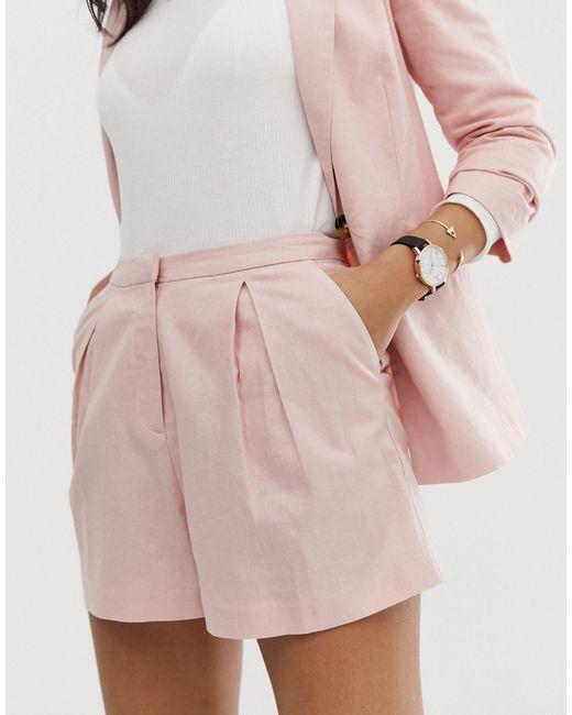 Льняные А-образные Шорты ASOS, цвет: Pink