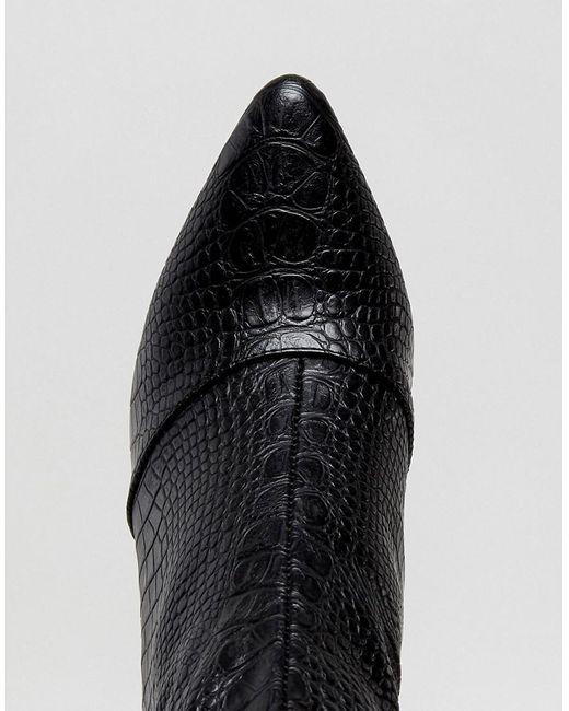 Snake Effect Over The Knee Heeled Boot - Black Prettylittlething M3CkpjmT