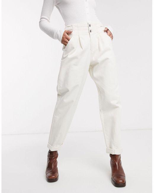 Свободные Белые Брюки С Пряжкой -белый Bershka, цвет: White