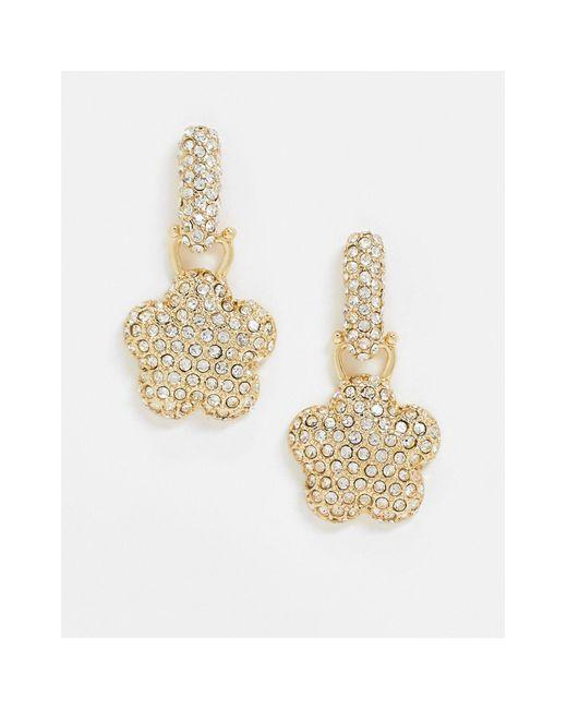 Золотистые Серьги-подвески С Кристаллами ASOS, цвет: Metallic