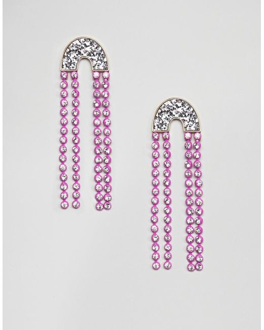ASOS - Metallic Earrings With Jewel Strands And Glitter - Lyst