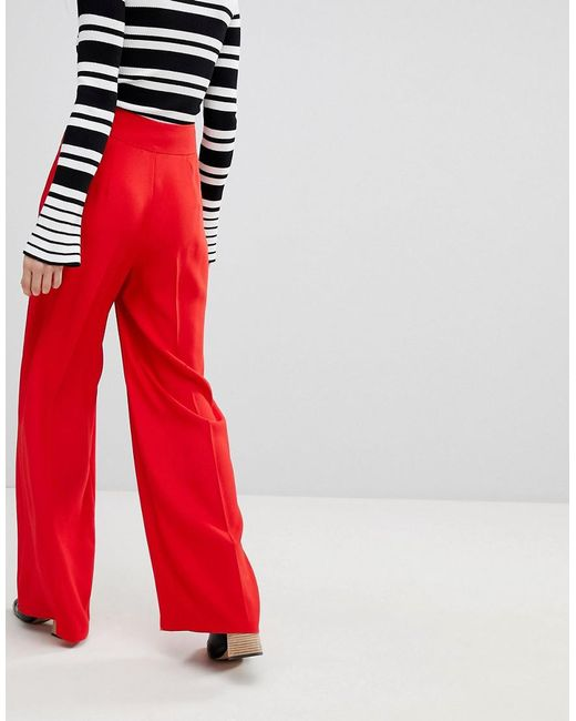 311ab09ce0740 Lyst - Miss Selfridge High Waisted Wide Leg Pants in Red