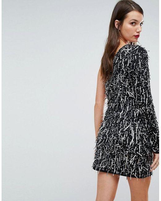 e403b3252a9 ... A Star Is Born - Black One Shoulder Mini Dress In 3d Embellishment -  Lyst