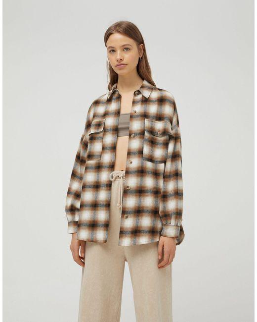 Коричневая Рубашка Навыпуск В Клетку -коричневый Цвет Pull&Bear, цвет: Brown