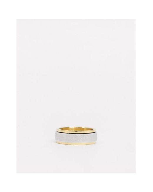 Кольцо Из Разных Металлов С Вращающейся Частью И Гравировкой -мульти Seven London для него, цвет: Metallic