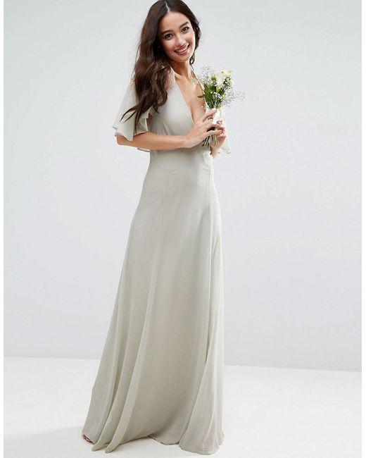 Asos Design Bridesmaid Lace Applique Cape Maxi