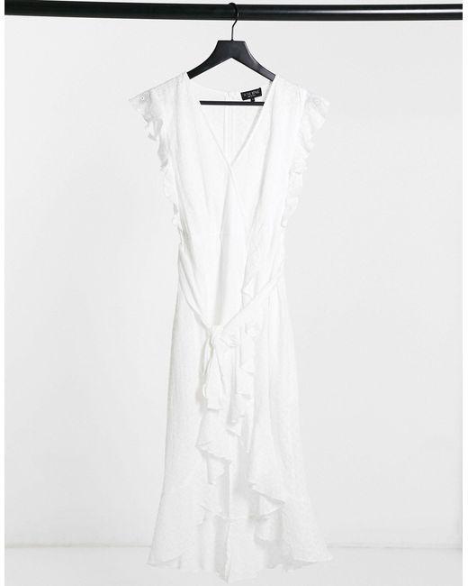 Vestito midi a portafoglio bianco di In The Style in White