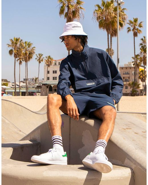 Adidas Originals Blue 'summer Club' Quarter Zip Seersucker Windbreaker Jacket for men