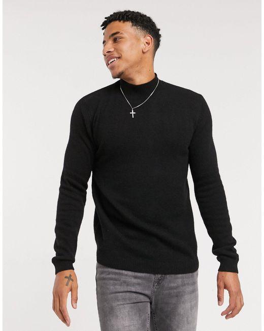 Черный Джемпер С Высоким Воротником ASOS для него, цвет: Black