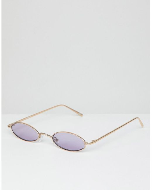 038e9cd9b ASOS - Metallic Mini Oval In Gold Metal With Lilac Lens for Men - Lyst ...