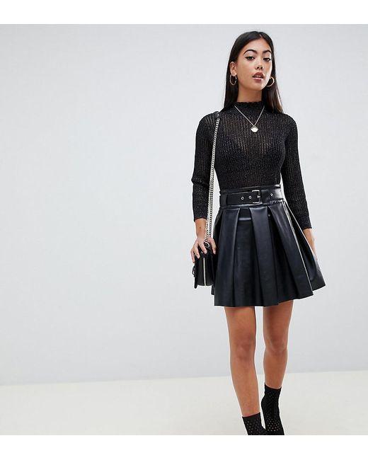 f2fa319c36d4d8 ASOS - Black Asos Design Petite Full Skater Leather Look Mini Skirt With  Self Belt ...