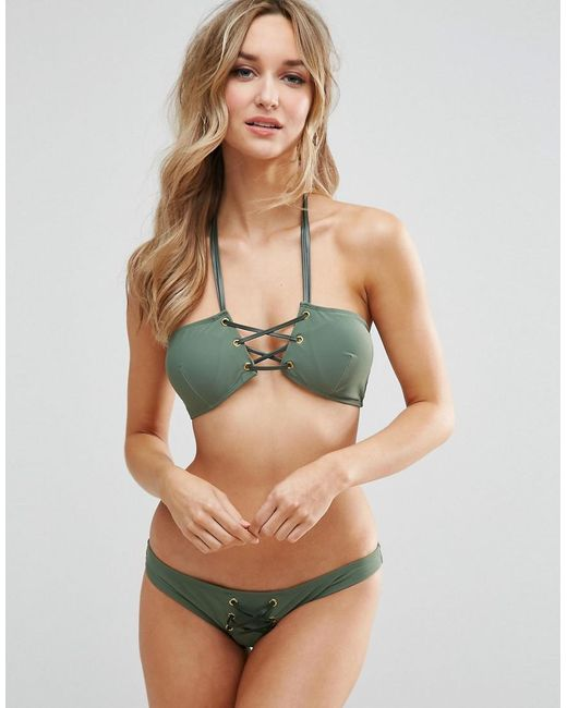 Online Shop From China Cheap For Sale Faux Leather Trim Bandeau Bikini Top with Halter Strap - Khaki Asos Clearance Big Sale ihflFb