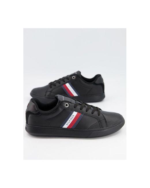 Черные Кожаные Кроссовки С Логотипом-флагом Сбоку -черный Цвет Tommy Hilfiger для него, цвет: Black