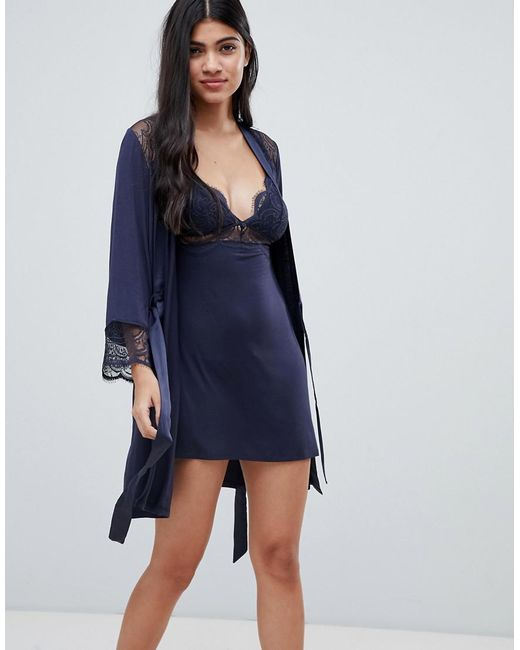 Lyst - Ted Baker B By Signature Lace & Jersey Dressing Gown in Black