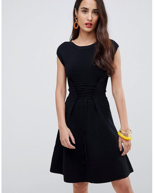 French Connection Black Kai Knitted Skater Dress With Lacing