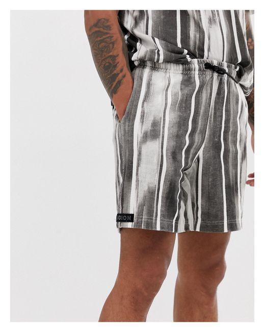 Religion – e Shorts mit gebürstetem Streifenmuster in Black für Herren