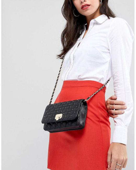 Quilted Bag with Pin Stud Detail - Black Forever New zYCYHJ8oXP