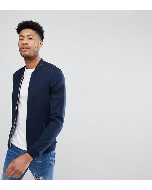 Ted Baker - Blue Tall Jersey Bomber In Navy for Men - Lyst