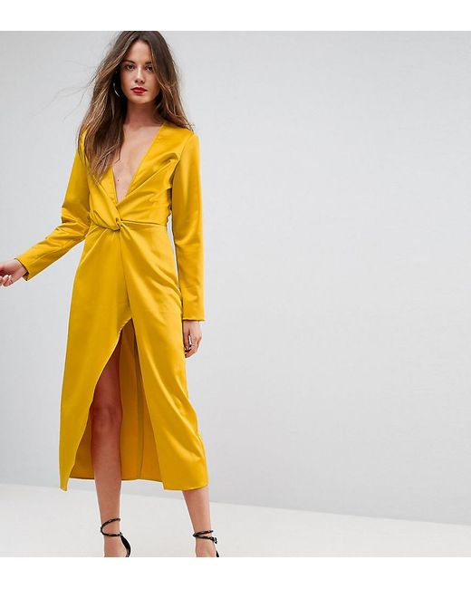 6e8e6d3302 Taller Than Your Average - Yellow Ttya Black Midi Wrap Dress With Knot  Front - Lyst ...
