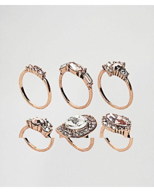 ALDO | Metallic Chydda Rose Gold Gem Multipack Rings | Lyst