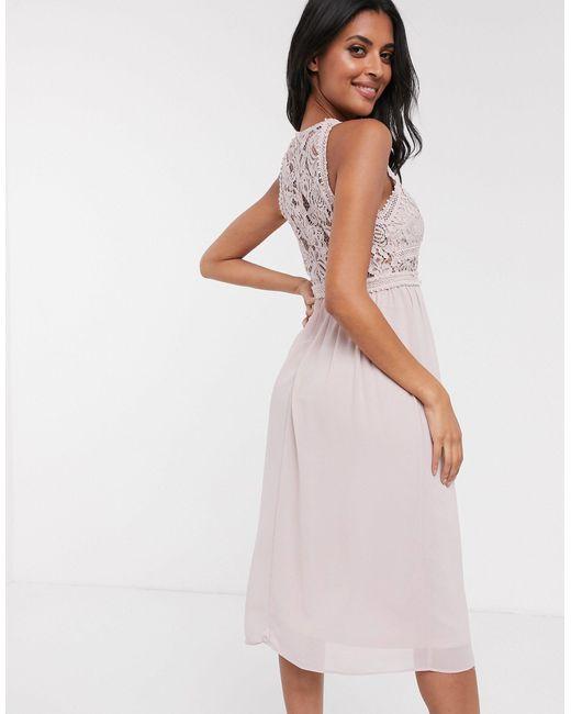 Серо-коричневое Платье Миди С Кружевными Вставками Bridesmaid-коричневый TFNC London, цвет: Multicolor
