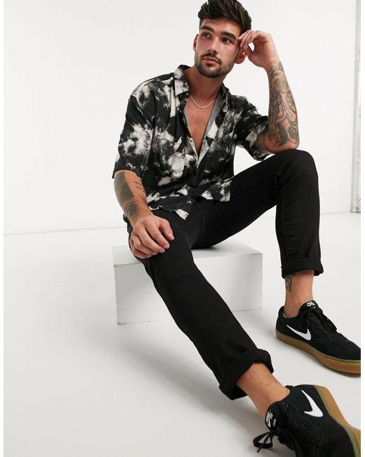 Черная Рубашка С Отложным Воротником И Абстрактным Принтом -черный Topman для него, цвет: Black