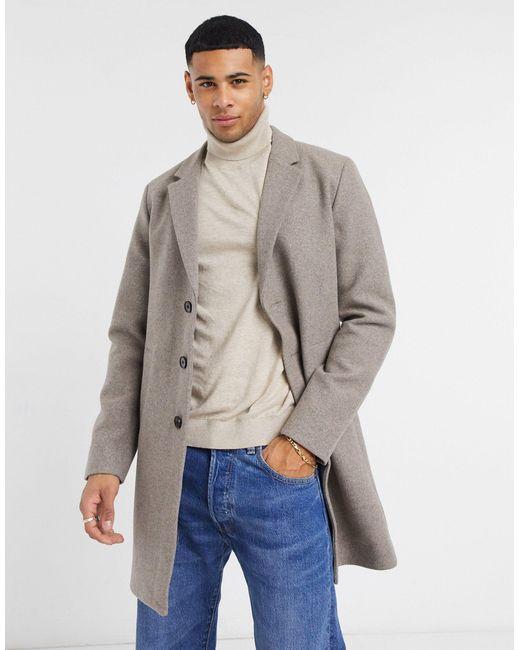 Бежевое Пальто Premium-neutral Jack & Jones для него, цвет: Natural
