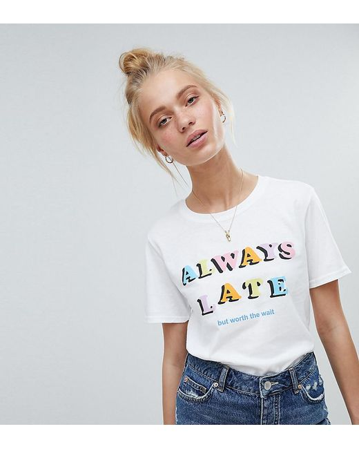 Adolescent Clothing - White T-shirt With Always Late Print - Lyst