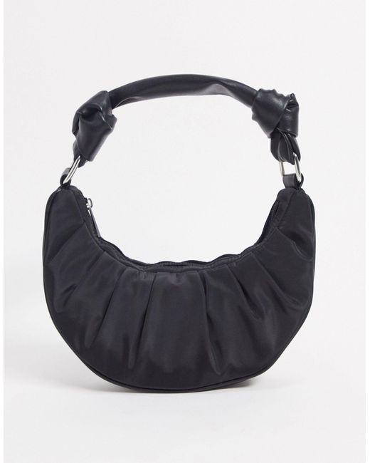 Черная Нейлоновая Сумка-полумесяц На Плечо Со Сборками ASOS, цвет: Black