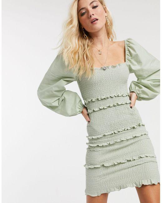 Шалфейно-зеленое Платье Мини С Присборенной Отделкой -зеленый TOPSHOP, цвет: Green