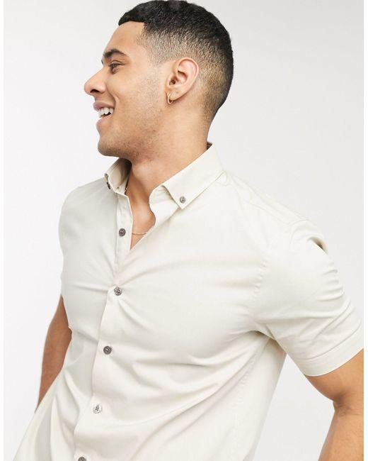 Светло-бежевая Рубашка С Короткими Рукавами -светло-бежевый Topman для него, цвет: White