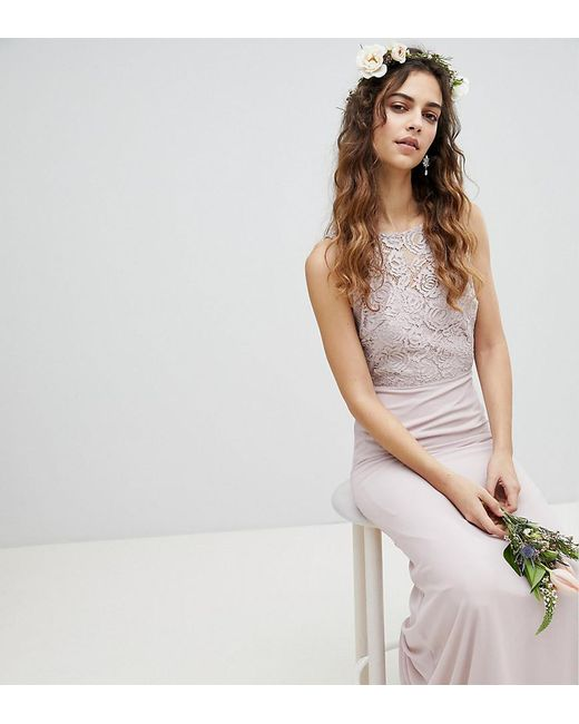 TFNC London - Brown Lace Up Back Maxi Bridesmaid Dress - Lyst