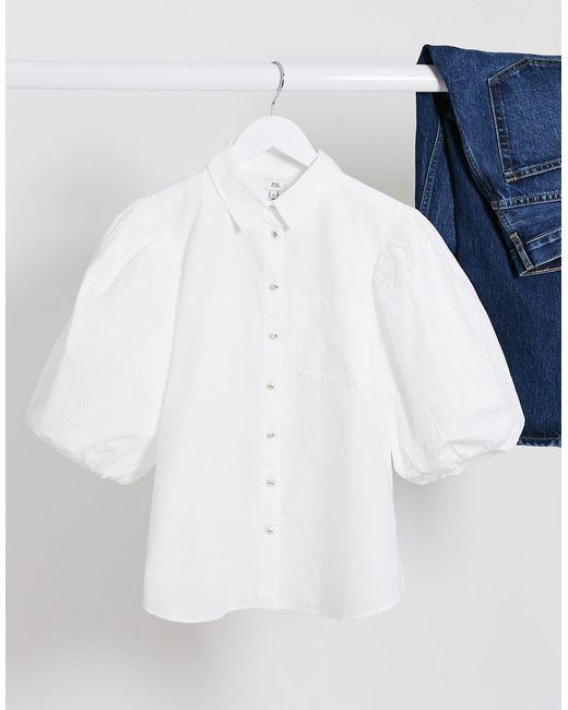 Белая Рубашка С Короткими Пышными Рукавами -белый River Island, цвет: White