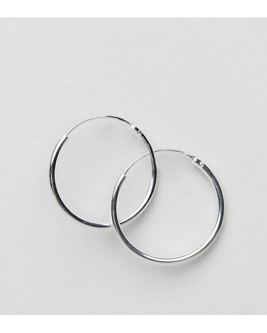 ASOS | Metallic Sterling Silver 20mm Hoop Earrings | Lyst