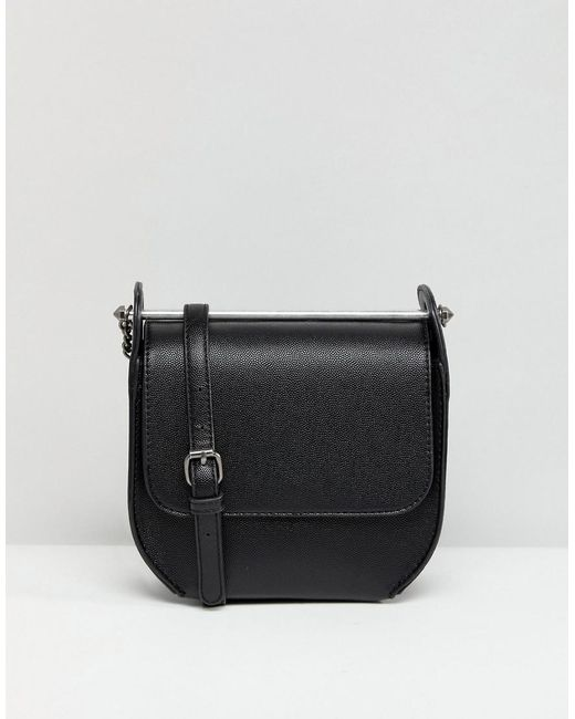 Leather and Suede Ring Detail Soft Cross Body Bag - Black Asos 3rF9Rat